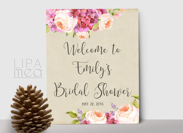 Bridal Shower Welcome Sign Printable, Wedding Welcome Sign, Floral Welcome Sign, Printable Welcome Sign, Wedding Reception Sign, Digital - pinned by pin4etsy.com
