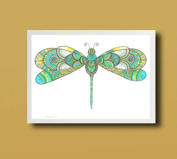 Zentangle Paisley Dragonfly Drawing Instant Download, Christmas Gift Turquoise Wall Decor Large Digital PRINT, Modern Floral Art Drawing by DHANAdesign on Etsy