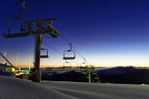 Twilight skiing at Mt Buller ski resort in Victoria, Australia #snowaus