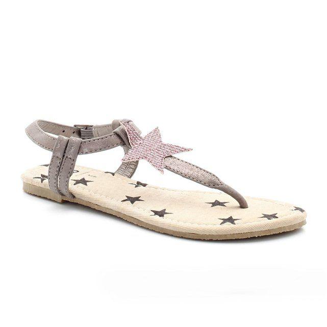Sandali con stelle, grigio rosa