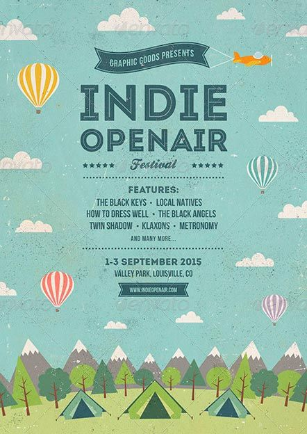 The words and the air are the focus. #order http://ffflyer.com/indie-open-air-festival-flyer-and-poster-template/