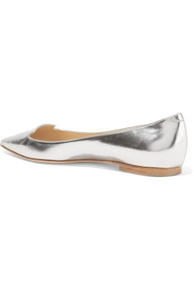 Jimmy Choo - Attila Mirrored-leather Point-toe Flats - Silver - IT38.5