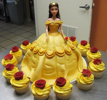 Beauty and the beast Belle cake and cupcakes. I need this for my next birthday!