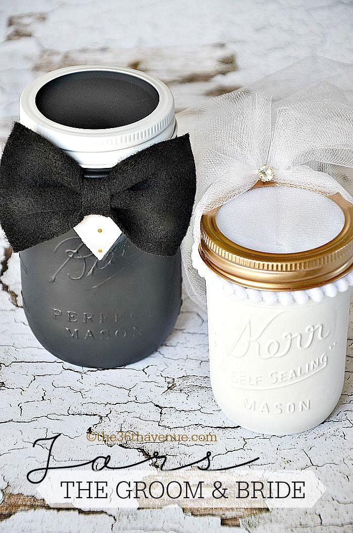 DIY Groom and Bride Mason Jars. Cutest wedding gift ever!