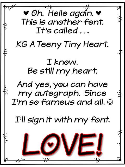 A Teeny Tiny Font - version with heart!