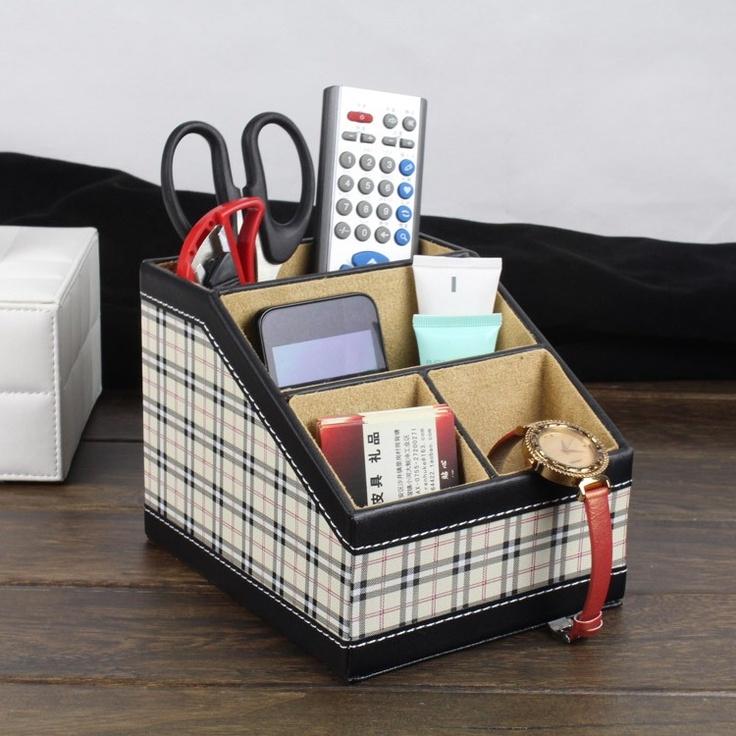沃戈 高级格子皮革杂物架 多功能 办公用品 回形针 收纳 遥控器盒-淘宝网