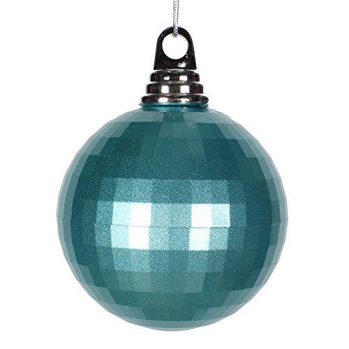 4 inch Teal Mirror Ball Christmas Ornament