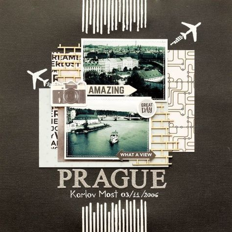 'PRAGUE' Scrapbook layout by Julia Akinina Design Team for Kaisercraft using 'Just Landed' collection.