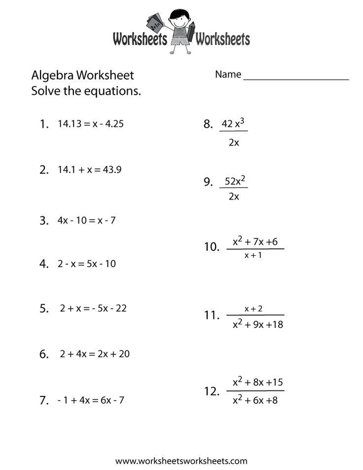 10 best images about Algebra Worksheets on Pinterest