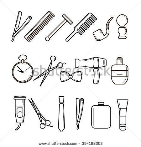 Set of Vector Barber Shop Elements and Shave Shop Icons Illustration, Modern Thin Line Illustration