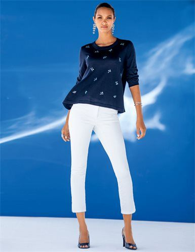 Verkürzte 7/8-Magic-Jeans, Damen Strickpullover mit Strass und rundem Ausschnitt, Eleganter Armreif