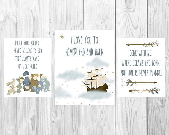 These Peter Pan prints are the perfect decoration for your babys Neverland nursery! This listing is for three high resolution JPG file. Standard size is 8x10 inches but can be adjusted as needed. HOW TO ORDER: 1. Click add to cart. 2. Checkout via Paypal. 3. Download digital prints
