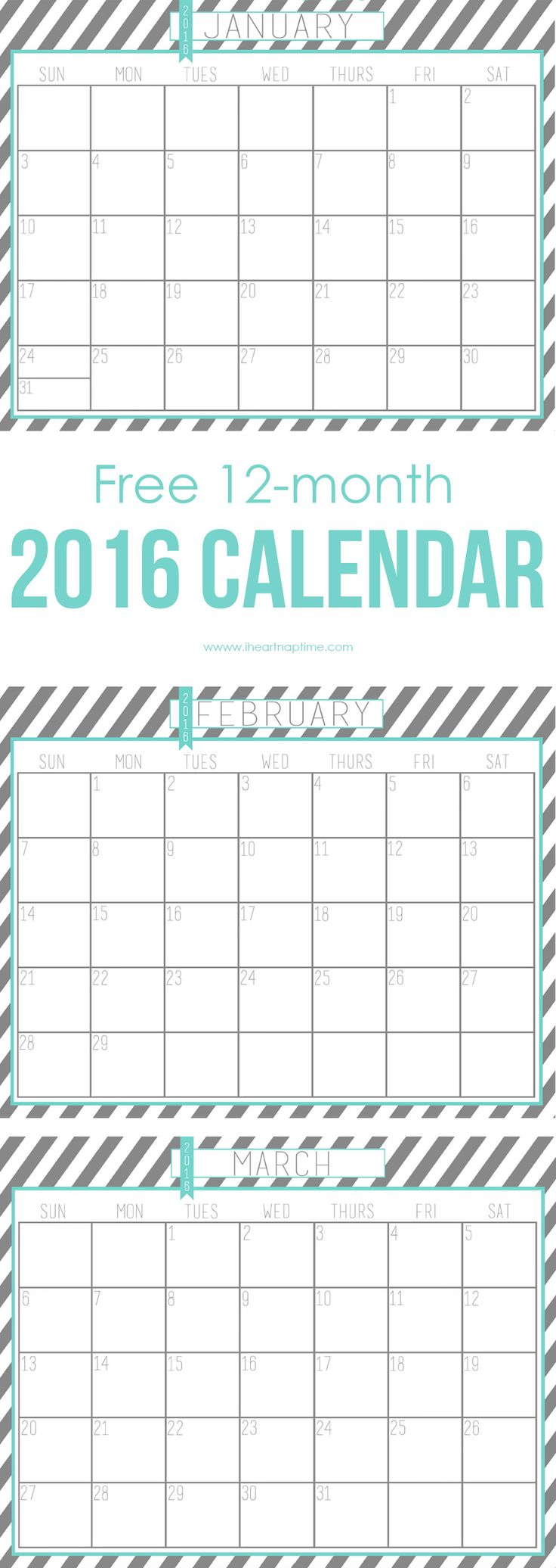 2016 Free Printable Calendar - perfect for getting organized in the New Year!