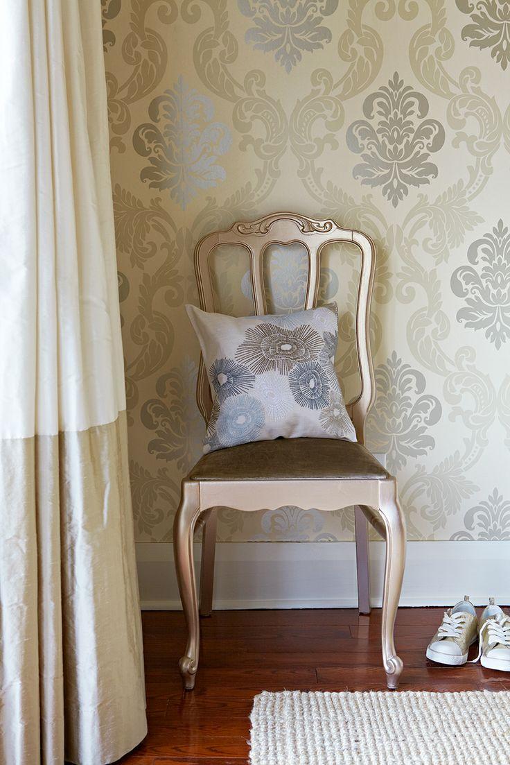 vintage chair, damask wallpaper, custom drapes, natural fiber rug. Bingham Ave. house--Jennifer Simon Design