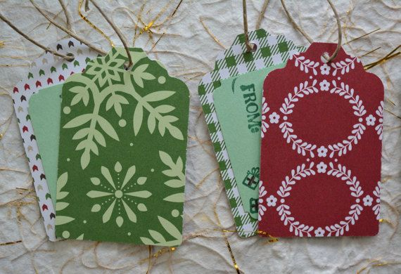 Christmas Gift Tags Handmade Set of Ten by CraftyCarolynsCards