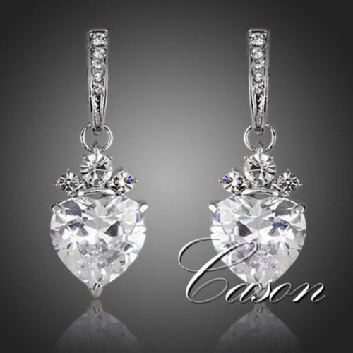 Big white heart earrings kod 531821