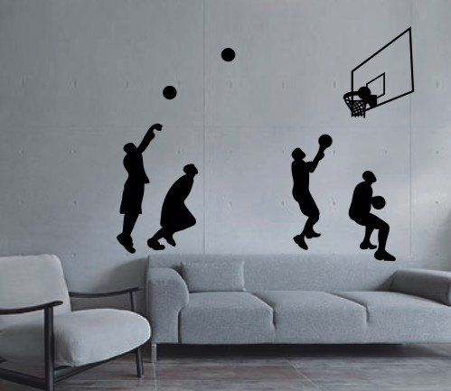 Large  Easy Instant Decoration Wall Sticker Wall Mural Sport Basketball  Basketball Shot Art Amazing Ideas