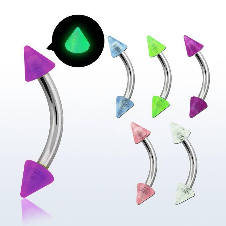 Barras curvas para cejas o frenillo de la lengua con conos ultravioletas! https://www.limonbay.com/Piercing-de-ceja-curvado-con-cono-fosforescentes-de-3mm
