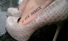 roman numeral date. Wedding date, but not on my foot