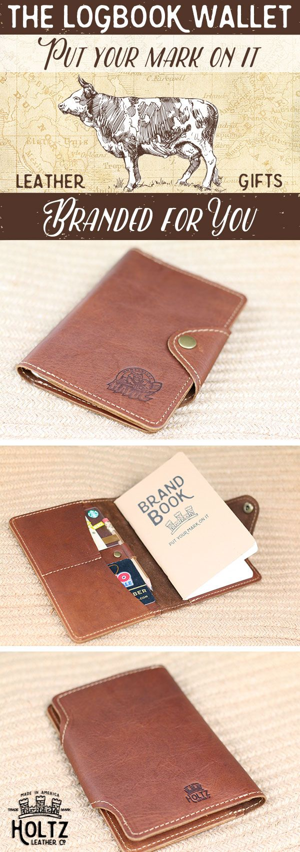 The Logbook Fine Leather Field Notes Wallet is a unique and timeless item! It is handmade right here in our shop with the finest of Full Grain American leathers. Branded with your company logo this wallet makes a great corporate gift or promotional item. !