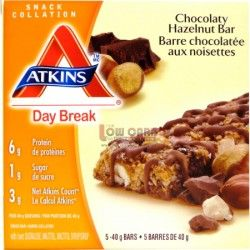 Atkins - Day Break CHOCOLATE HAZELNUT BAR - Atkins Day Break Bars are a delicious and Nutritious option for those on the go - great as a hearty snack. Benefits of Atkins Day Break bars include high in protein, good source of fiber, excellence source of calcium, and low in sugar.