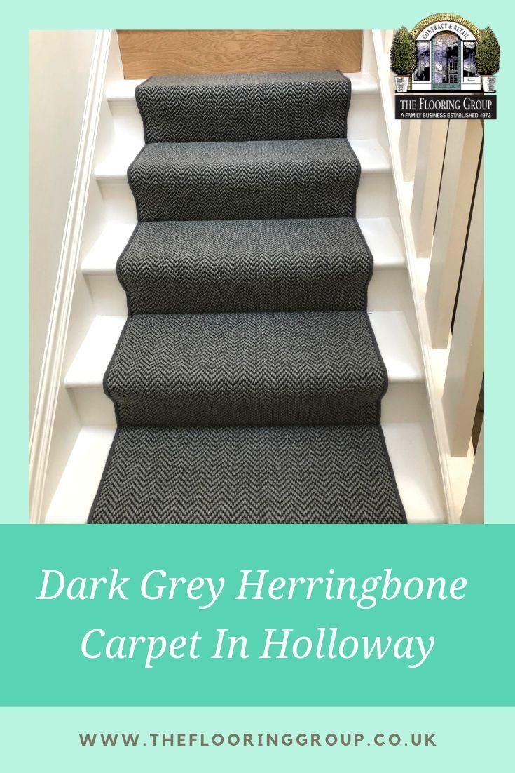 Dark Grey Sisal Herringbone Carpet Fitted In Holloway In 2020 Dark Grey Carpet Grey Carpet Runner Stair Runner Carpet
