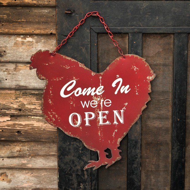 Open/Closed Metal Chicken Sign