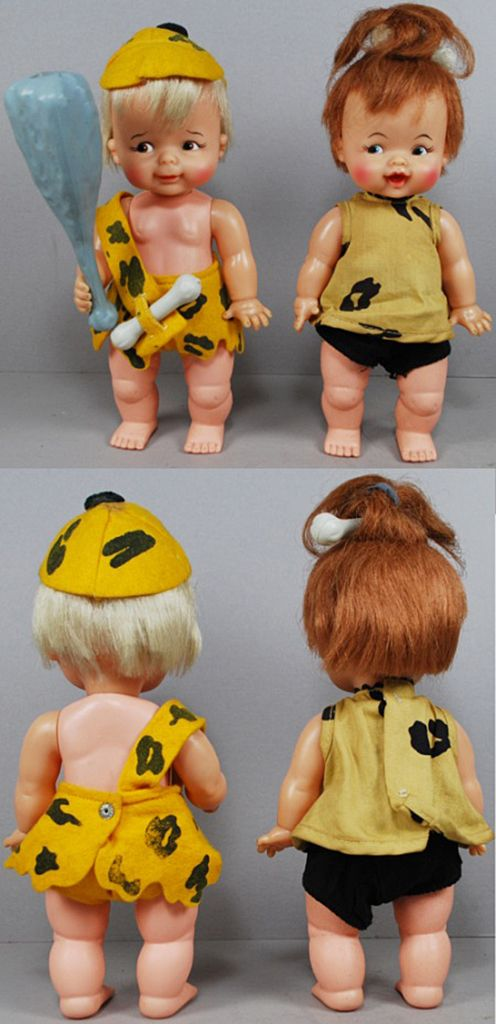 Ideal's 1963 Bamm-Bamm Rubble & Pebbles Flintstone Dolls