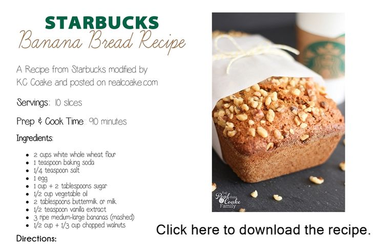 THE Starbucks banana bread recipe--this recipe makes the BEST banana bread!!!!