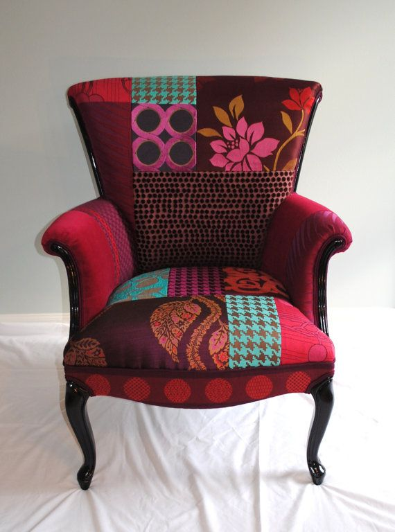 Plum Patchwork Chair by RecoveryAct on Etsy, $575.00