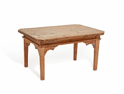 TABLE  Seats type. Unpainted. Chamfered corners. Early 1800s.  HEIGHT 54.00 CMLENGTH 100.00 CMDEPTH 73.00 CM