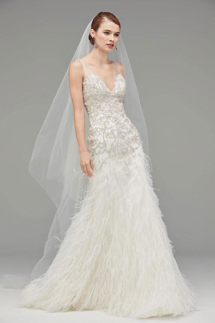 new wedding dresses wedding dress with feathers V Neck Beaded Wedding Dress with Feathers Watters Fall http