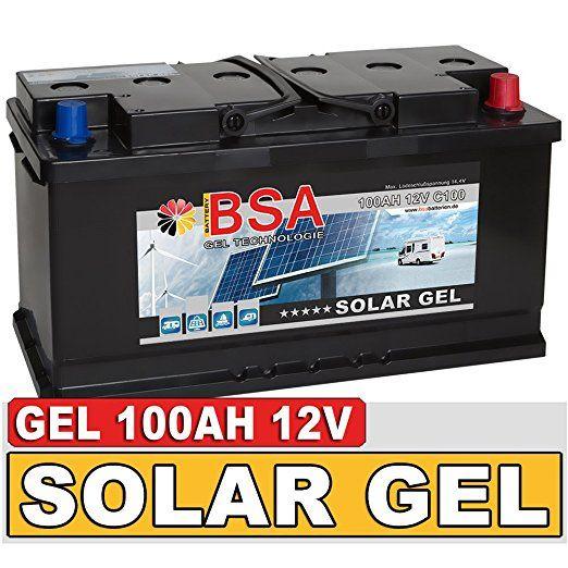 BSA Solarbatterie Gel Batterie 100Ah 12V Blei Gel Akku Boot Wohnmobil Wohnwagen Schiff Marine Batterie: Amazon.de: Elektronik