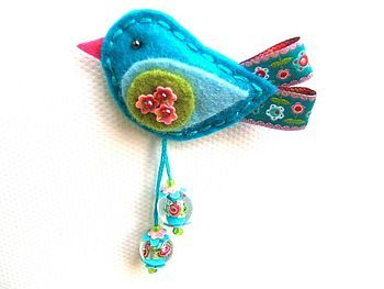 felt bird with ribbon tail