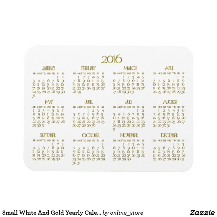 Year Calendar Magnetic : Small white and gold yearly calendar magnets