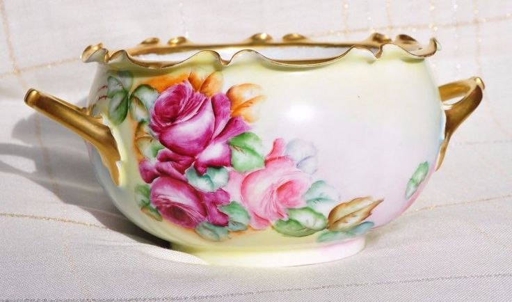 BEAUTIFUL R.C. BAVARIA, PHILIP ROSENTHAL HAND PAINTED BOWL WITH HANDLES, ROSES #RosenthalCompany