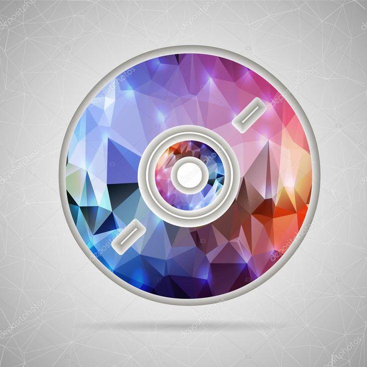 Аннотация Креативная концепция вектор значок компакт-диска диска для веб и мобильных приложений, изолированных на фоне. Векторный дизайн шаблона иллюстрации, бизнес инфографики и социальных медиа, оригами иконки