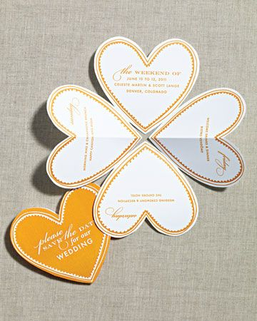 Folded Heart Save-the-Dates - Brilliant idea for guests that are invited to multiple events on the wedding weekend!
