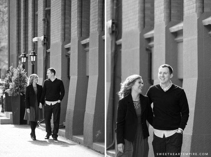 Walking in downtown Toronto next to the Flatiron building - engagement photos #sweetheartempirephotography