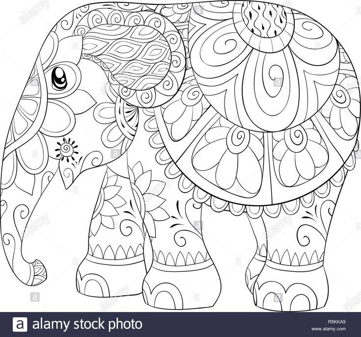 Descargar este vector: Un elefante de dibujos animados con ornamentos imagen par…