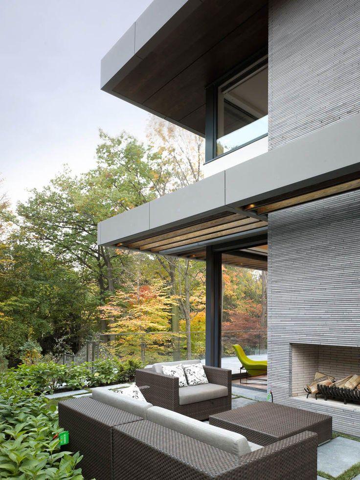 Sofa, Outdoor Fireplace, Impressive Modern Home In Toronto, Canada