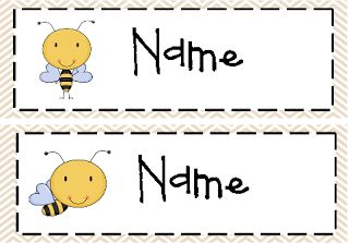 Mrs. Black's Bees: Bee Name Plates~ Editable