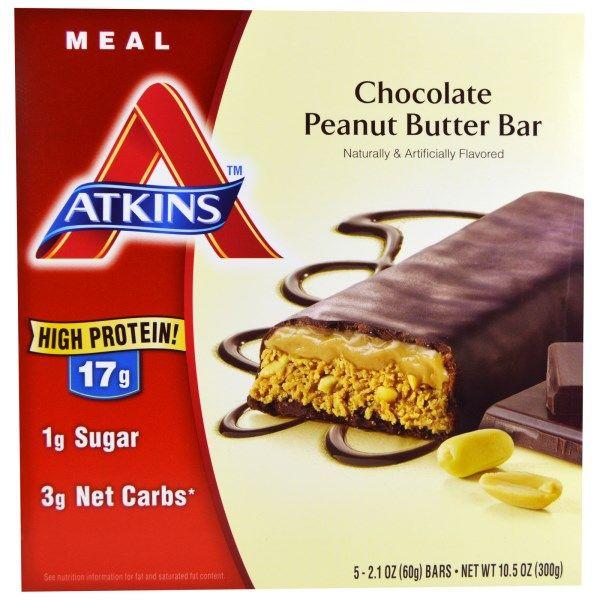 Atkins, アドバンテージ, チョコレートピーナッツ バターバー, 5バー, 各2.1オンス(60 g)
