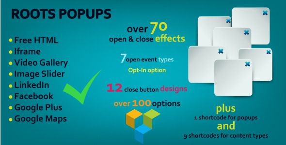 Roots Popups . Roots has features such as High Resolution: No, Compatible Browsers: IE9, IE10, IE11, Firefox, Safari, Opera, Chrome, Software Version: WordPress 3.9, WordPress 3.8, WordPress 3.7, WordPress 3.6, WordPress 3.5