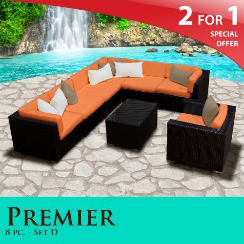 Premier Outdoor Wicker 8 Piece Patio Set Tangerine Covers  08D By TK  Classics. $1797.00