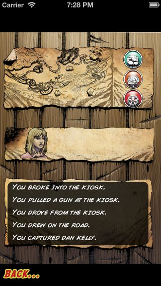 Comic art from the game. The status screen contains: a map, your skills, your companions, and a summary of noteworthy things you've done.