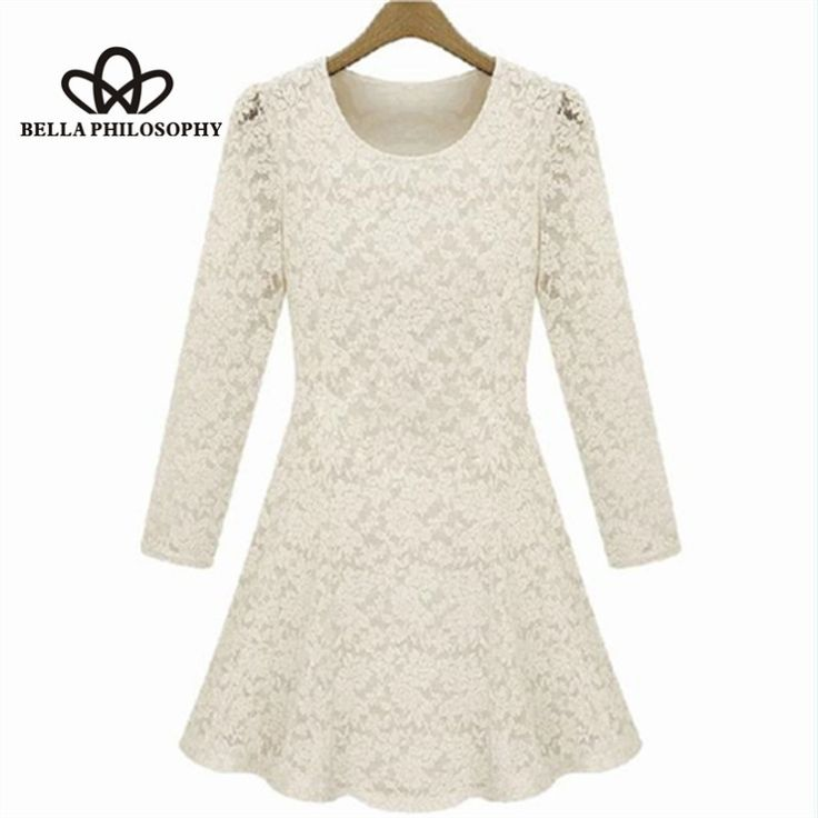 Fall/winter/spring plus size women's clothing full lace long sleeve dress slim skating dress