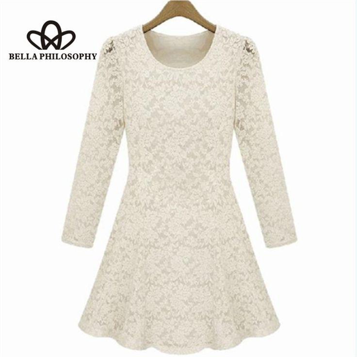 Fall/winter/spring plus size women's clothing full lace long sleeve dress slim skating dress