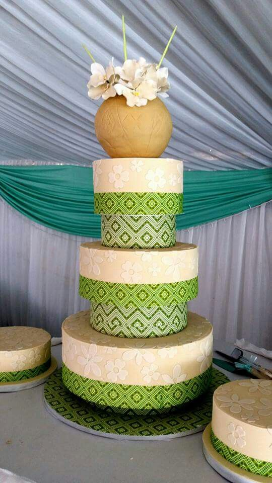 Traditional zulu wedding cake. With candy ukamba pot