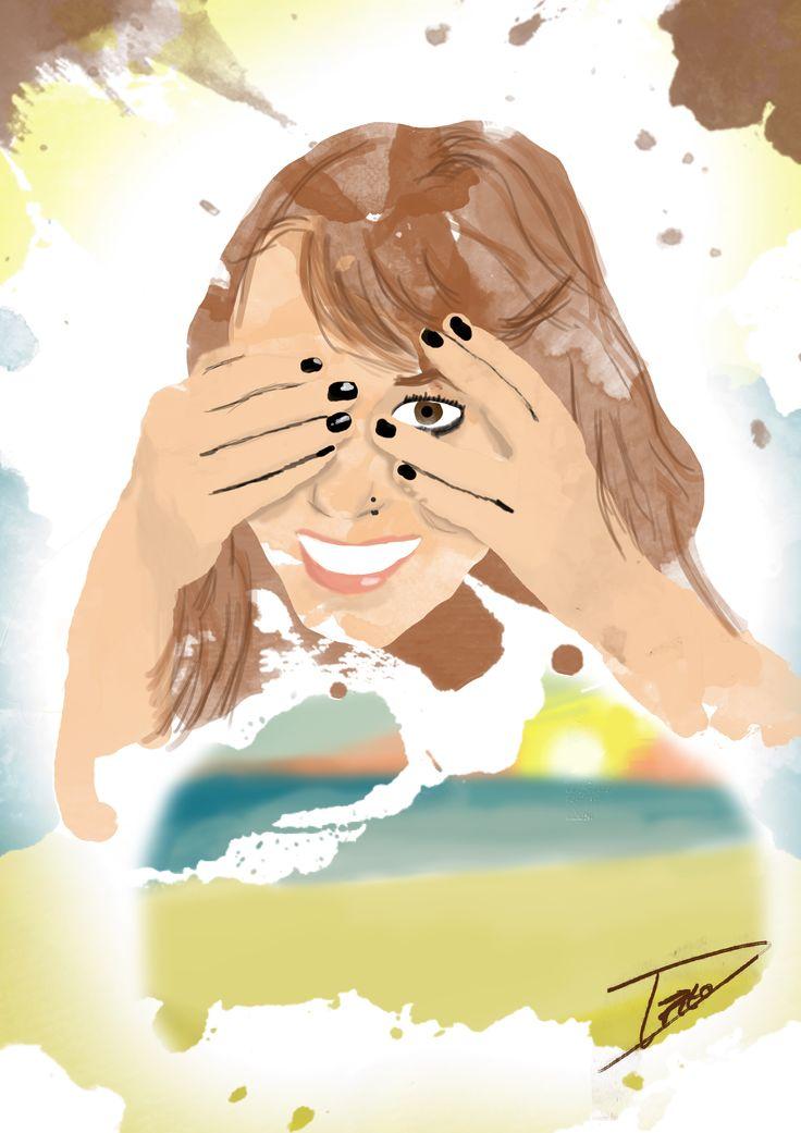 Dibujo Mujer Playa Acuarelas Watercolor   Regalo a una segoviana =)  